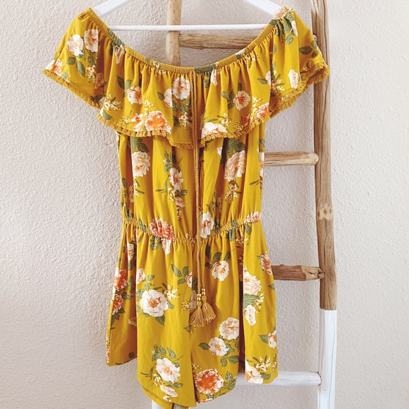Derek Heart Pants - NWT Derek Heart Yellow Romper